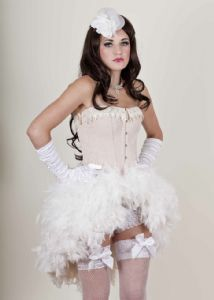 Unique Cream Burlesque Corset Feather Bustle Dress, burlesque hen inight fancy dress,Cream Moulin Rouge Costume, Deluxe Burlesque Clothing, Made To Order Burlesque Costume, Marie Antionette Dress, victorian queen costume.